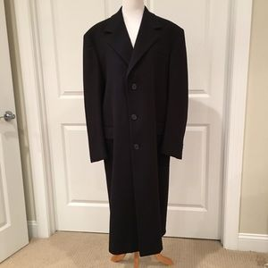 Saks Fifth Ave Black Wool Blend Trench Coat Sz L